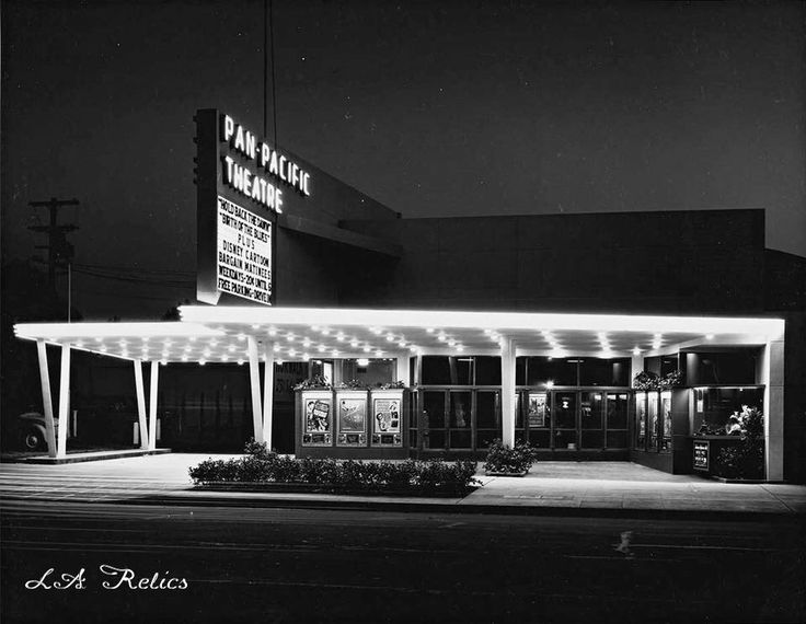 The Pan-Pacific Theatre, located at 7554 W. Beverly Boulevard, with double feature plus a Disney Cartoon in 1942. The weekday 'Bargain Matinee' price is 20¢ until 5 p.m. The theatre building also housed a cafe, ice rink and bowling alley. Built in 1942, the theatre closed in 1984 and was demolished not too long afterwards. Source: Getty Images