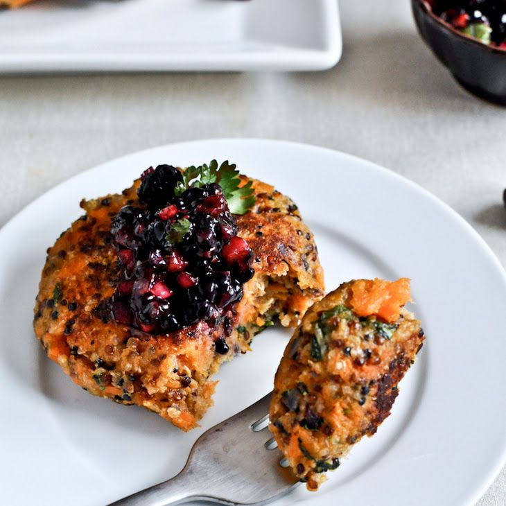 Sweet Potato Quinoa Cakes Recipe with 200 calories. Includes sweet potatoes, purple onion, salt, pepper, garlic cloves, olive oil, cooked quinoa, whole wheat breadcrumbs, grated parmesan cheese, chopped cilantro fresh, fresh basil, large eggs, blackberries, purple onion, jalapeno chilies, chopped cilantro, lime, pepper, salt.