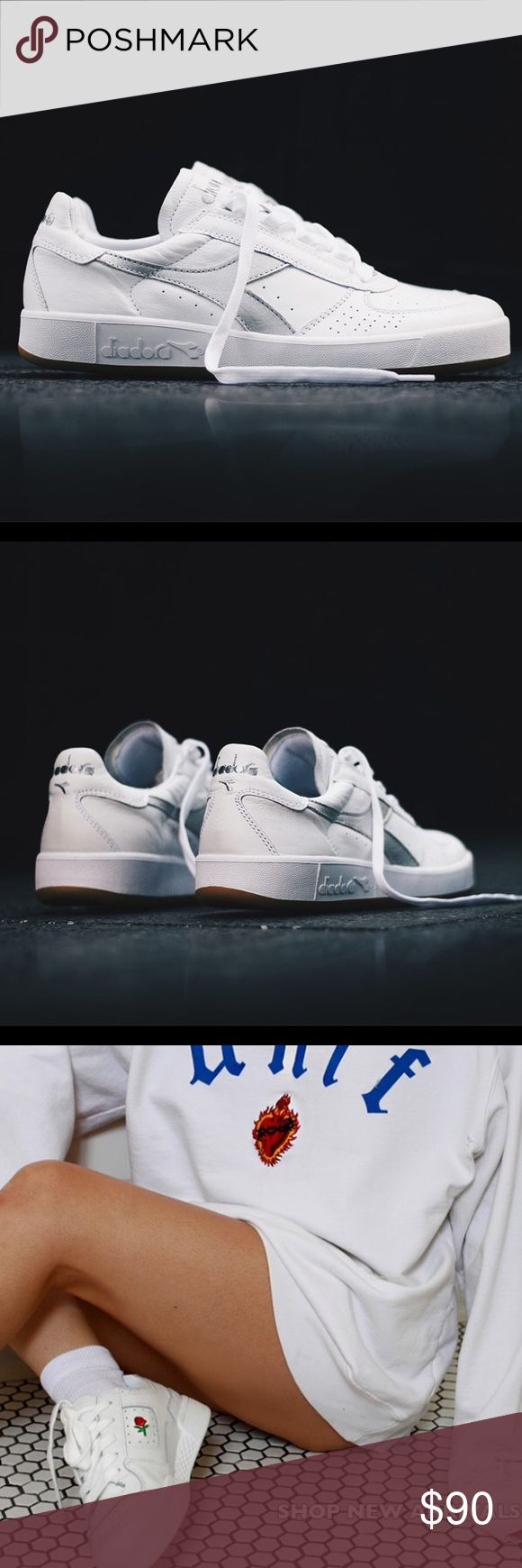 Diadora B. Elite women's white sneakers The perfect all white sneaker that every fashion blogger is wearing. I'm selling the shoes seen in the Photo 1 and 2. The latter photos are for styling ideas. Bought from TopShop for $125. Worn once, these were a size too small for me so I'm selling. Comes with box. Cheaper on ♏️erc, just ask! Diadora Shoes Sneakers