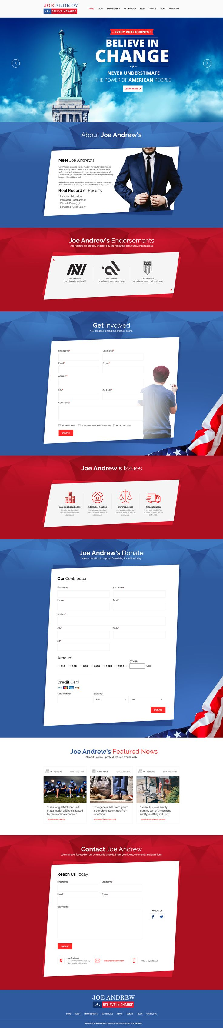 JOE Political Campaign Landing Page #donate #gripd #landing page • Download ➝ https://themeforest.net/item/joe-political-campaign-landing-page-psd/19120966?ref=pxcr