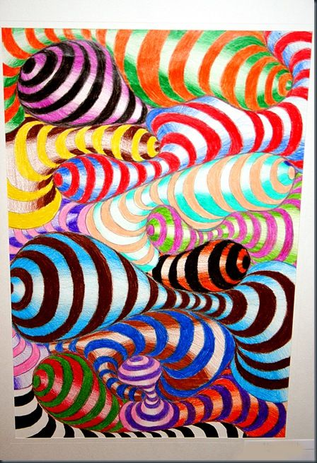op art.  abstract/perspective example - might make two drawings, stopping with a line drawing on one and finishing the other...to show how perspective changes the dimensional look in artwork.