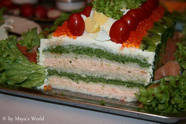 """smörgåstårta, sandwich cake with spinach and salmon cream cheese filling, and cream cheese/creme fraiche """"frosting"""""""