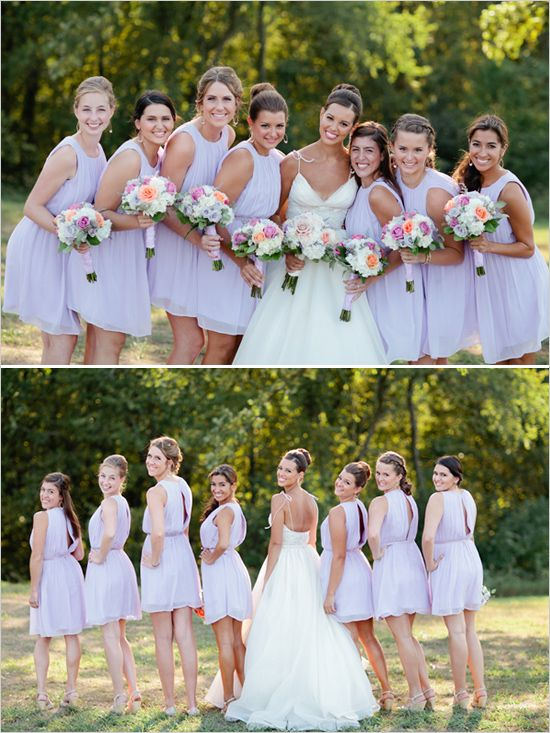 Liking the contrast of the delicate lavendar bridal party against the crisp white bouquet with pops of color