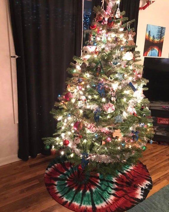 Tie Dye Holiday Christmas Tree Skirt Hippie Christmas Decor Christmas Decorations Christmas Holidays Christmas Tree