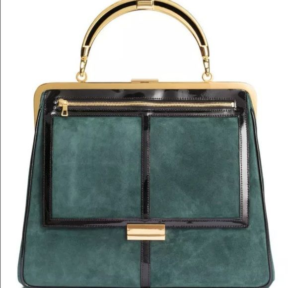 BALMAIN for H&M green suede bag Sold out Balmain green suede bag. Can be worn as a tote or cross-body bag with straps. Beautiful from historic line Balmain Bags Satchels