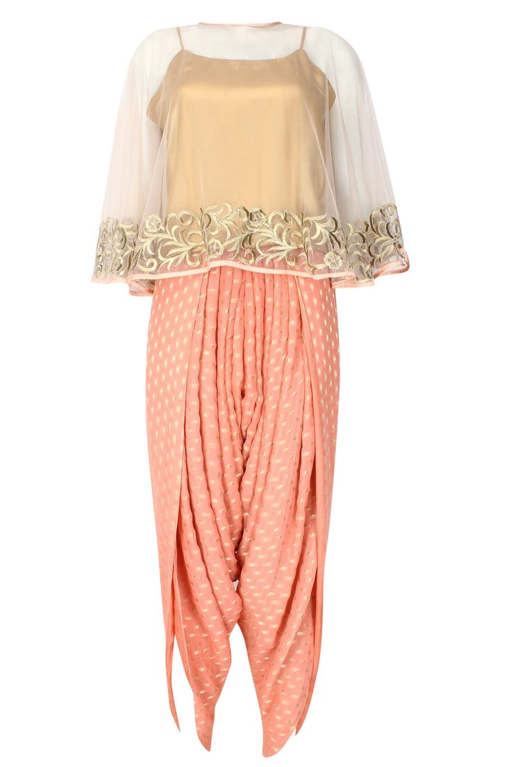 Ridhi Arora presents Light peach floral zari embroidered cape with an inner and…
