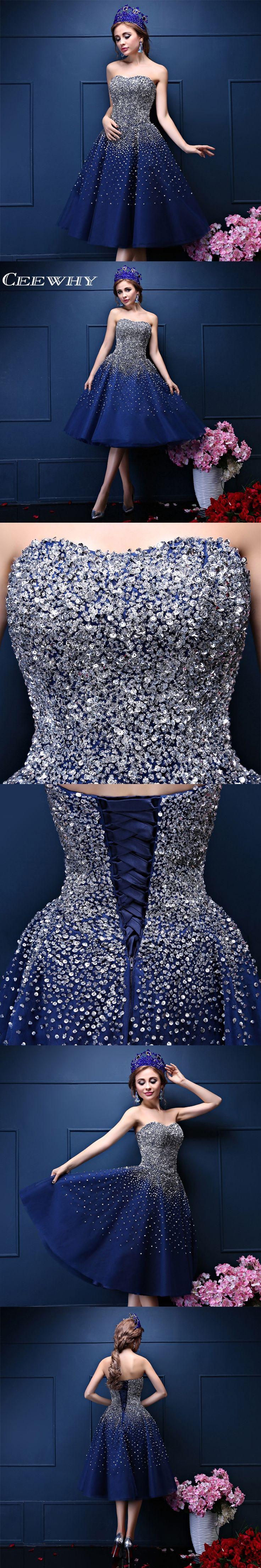 Custom Made Prom Dresses Organza Navy Blue Sweetheart Major Beading Tea-Length Formal Dresses Strapless Ball Gown Robe De