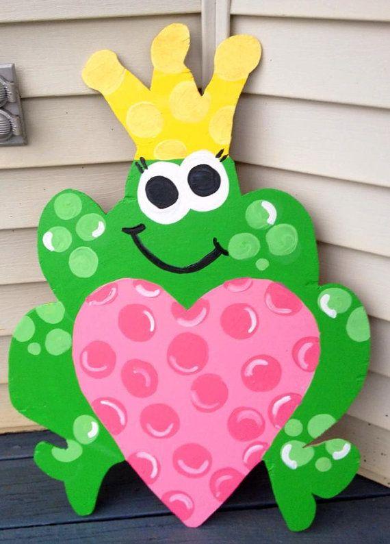 Valentines+day+door+hanger++prince+charming+frog+door+by+paintchic,+$40.00