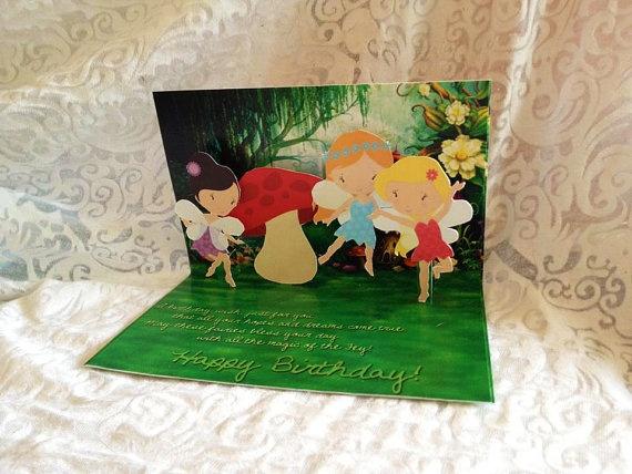 Pop Up Fairy Girl Birthday Card Handmade by EverburgPhotography, $9.99