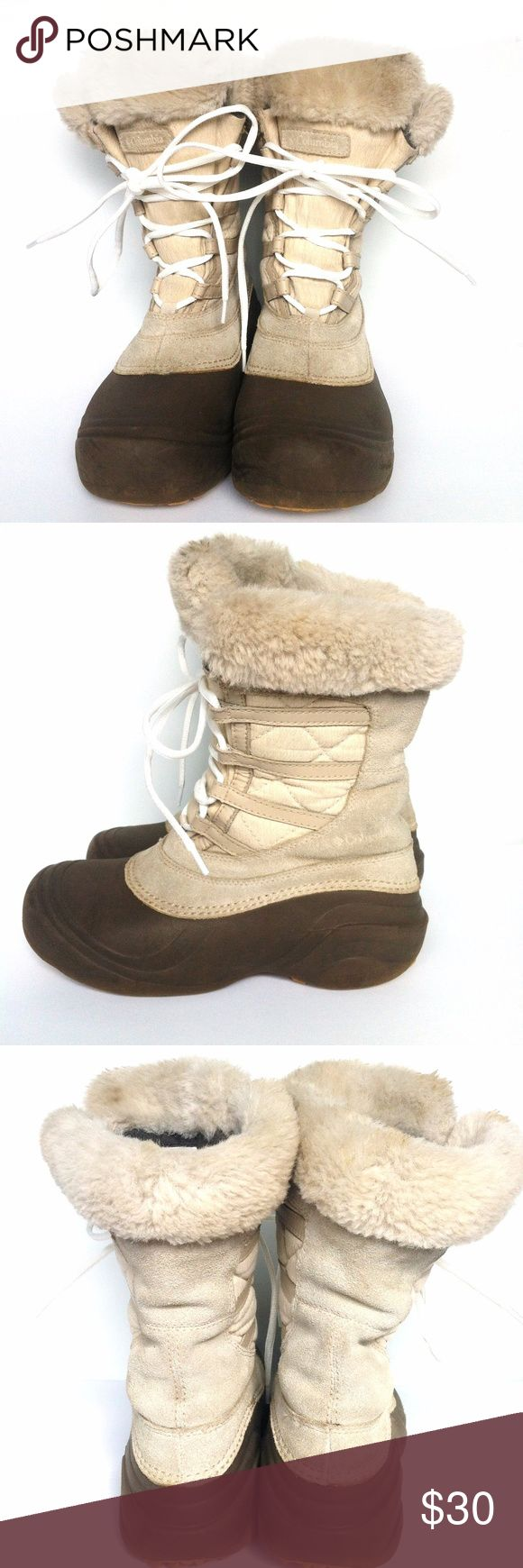 """Columbia Sierra Summette 2 Wp Cold Weather Boots FITS LIKE A SZ 6! Leather &  textile Rubber sole Shaft measures approximately 8.25"""" from arch Heel measures approximately 1.5"""" Waterproof leather and textile with Omni-Shield advanced repellency for stain and water protection Molded nylon shank provides torsional rigidity and support Techlite molded material provides cushion & protection in a lightweight and flexible shell Non-marking Omni-Grip rubber compound with a winter specific lug tread…"""