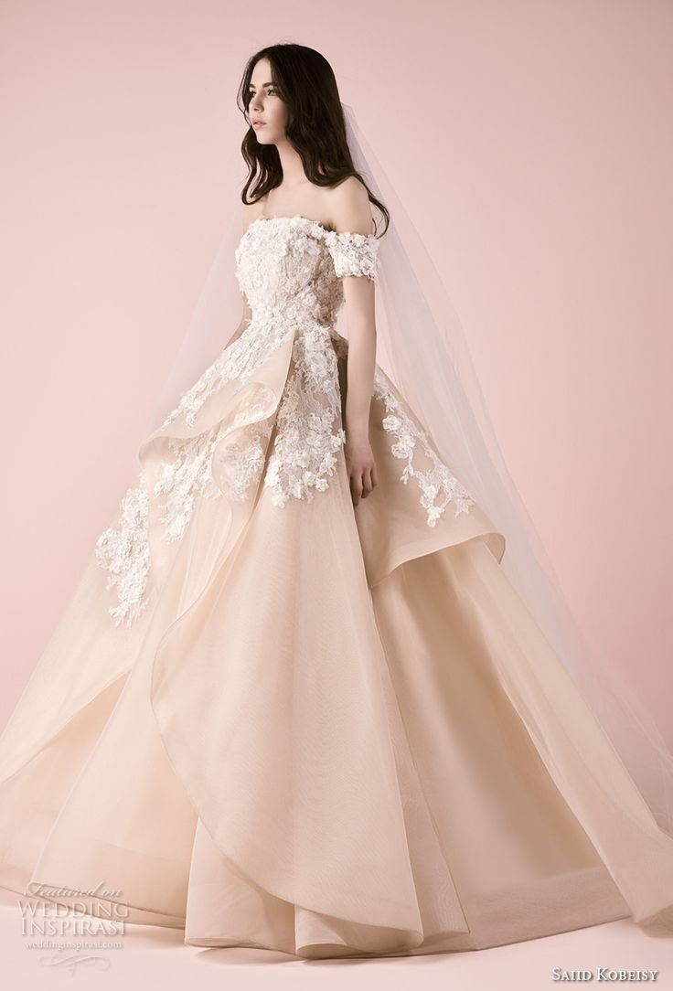 saiid kobeisy 2018 bridal off the shoulder straight across neckline heavily embellished bodice layered skirt princess blush color ball gown wedding dress (3257) mv -- Saiid Kobeisy 2018 Wedding Dresses