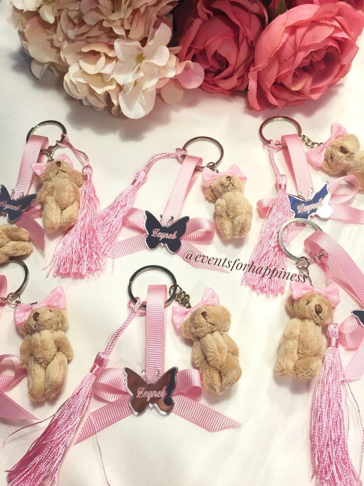 Teddy bear anahtarlık #key #teddy #pink #handmade