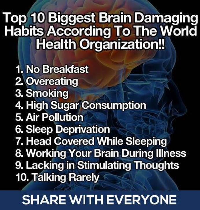 Top 10 biggest bran damaging habits according  to the World Health Organization.
