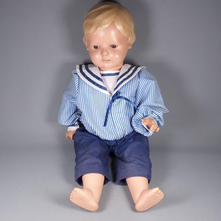 Schildkröt Puppe - Junge mit blonden Haaren und braunen Augen 56 cm
