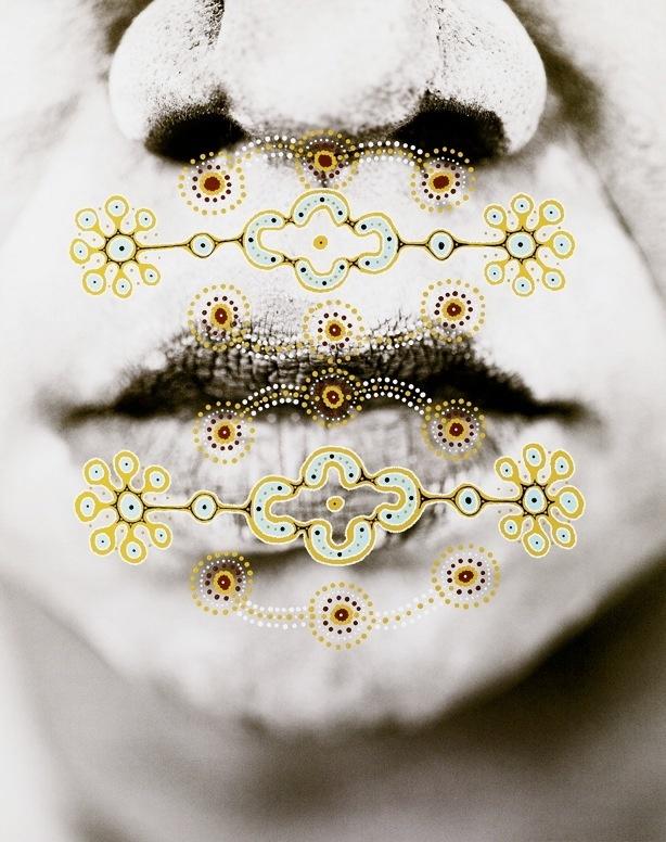 Collaborative art between photographer Russell James and Aboriginal artist Clifton Bieundurry
