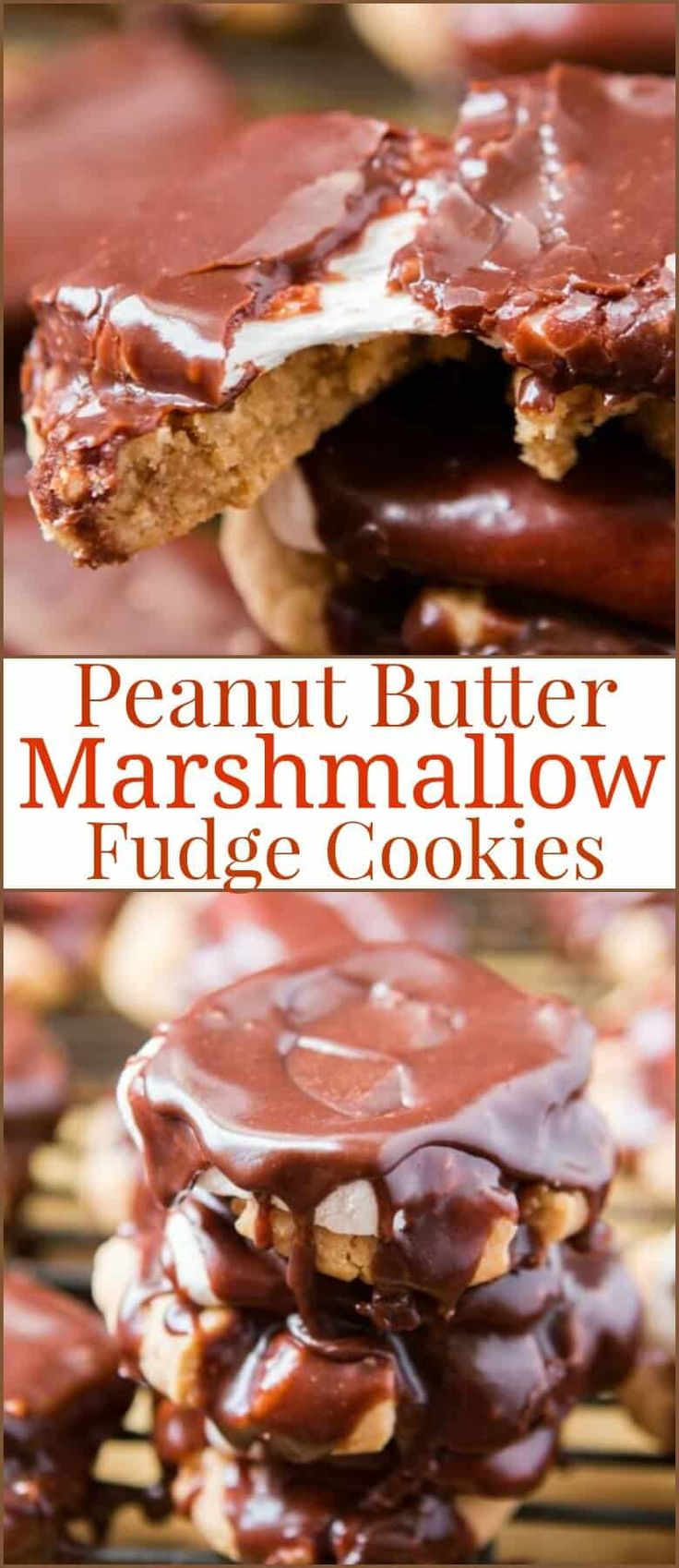 Soft and chewy peanut butter fudge cookies are wonderful but turn them into peanut butter marshmallow fudge cookies and it's pure heaven for dessert! via @ohsweetbasil