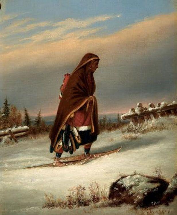 Oil Paintings From   ... :'Indian Mocassin Seller', oil paintings by Cornelius Krieghoff.jpg
