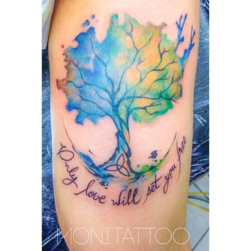 Tree of life watercolor tattoo google search body art for Tree of life watercolor tattoo
