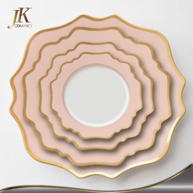 Fina vajilla de porcelana juegos de vajilla de porcelana rosa romántico para la boda-en Juegos de Vajilla de Vajilla en m.spanish.alibaba.com.