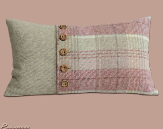Subtle pink tweed cushions, tartan style, with wooden buttons, wool