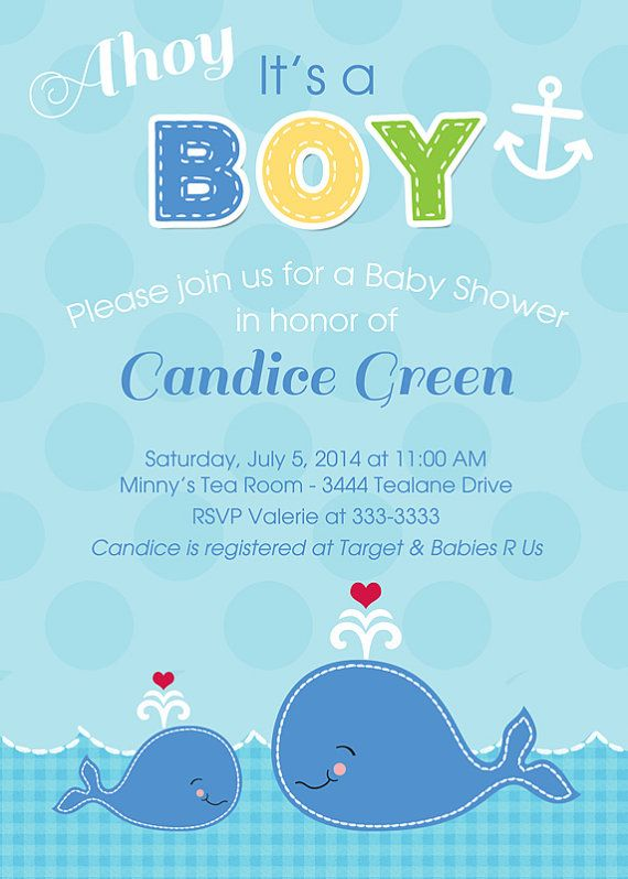 whale baby boy shower invitations printable by partypopinvites