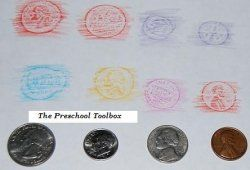 Crayon Coin Rubbings and #Money ID Game for #Preschool and #Kindergarten