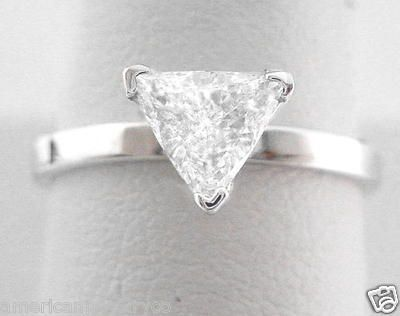 Trillion Engagement Ring .75 Carat Solitaire Diamond in Solid 14K White Gold