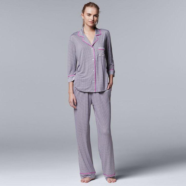 Women's Simply Vera Vera Wang Pajamas: Evening Oasis Top & Pants PJ Set, Size: XS, Grey Other