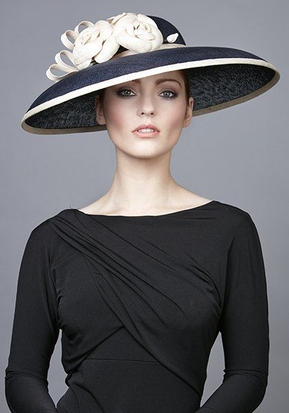 R1762 - Navy fine straw hat with straw Camellias