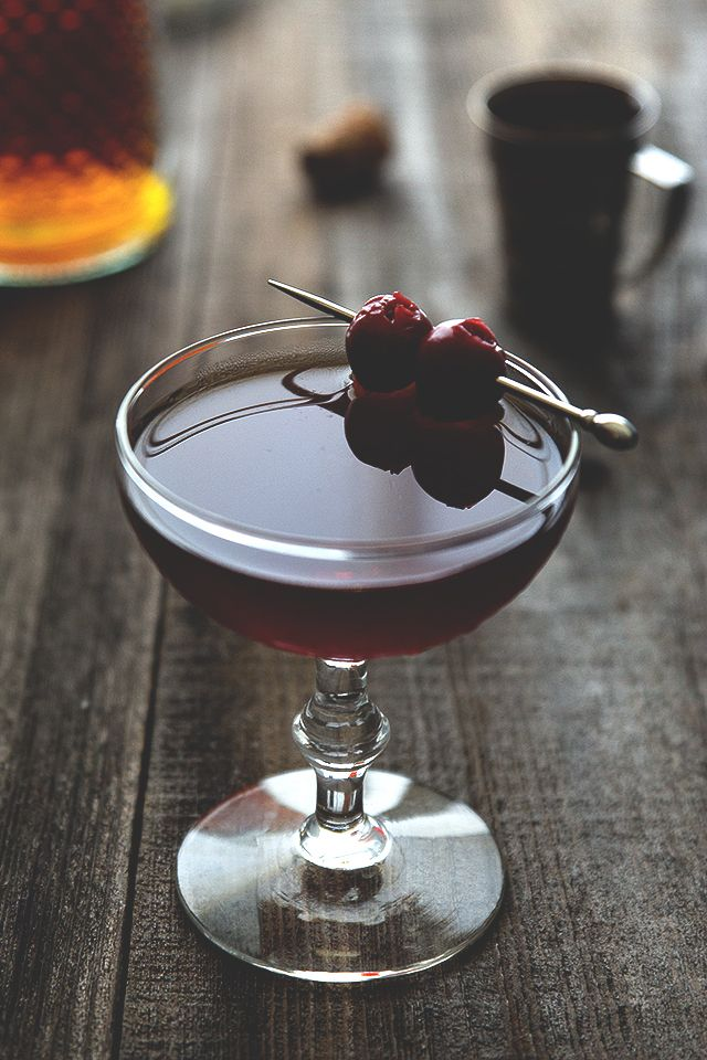 Manhattan Cocktail   Ingredients: 2 oz rye whiskey 1 oz sweet vermouth 2 dashes Angostura bitters brandied cherries for garnish