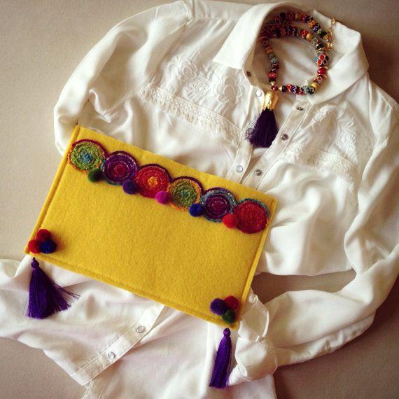Felt clutch Clutch purse Womens bag Casual bag by BOHOCHICBYDAMLA
