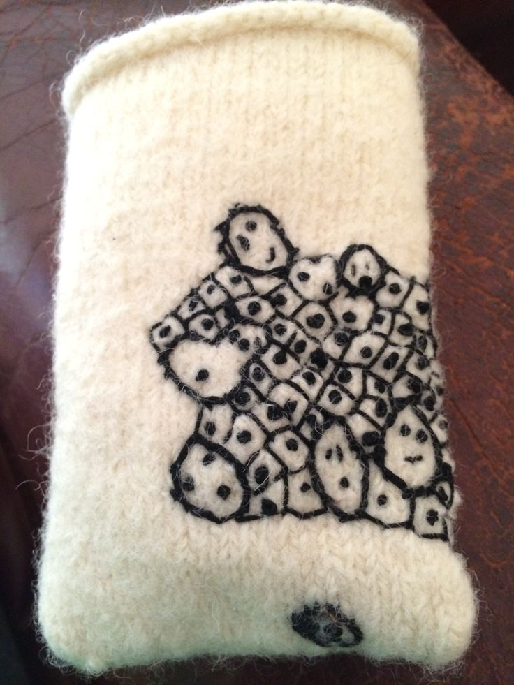 Knitted felted iphone cover.