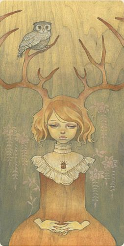 Audrey Kawasaki - Owlgirl  Oil on wood 14x27  Picks of the Harvest I - Thinkspace Gallery  2005