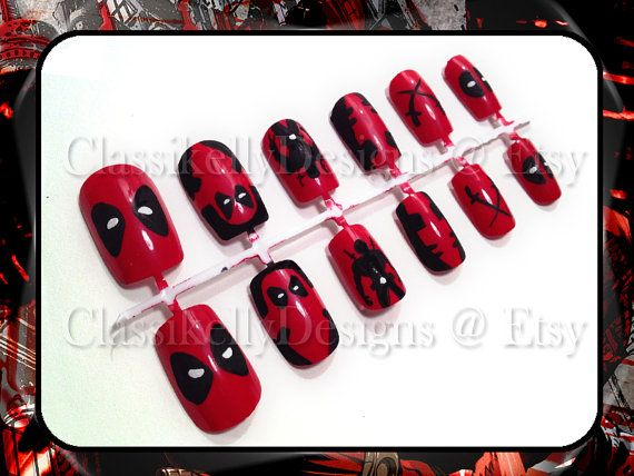 Deadpool Nail Set by ClassikellyDesigns on Etsy, $20.00 - 47 Best Nails Images On Pinterest Supernatural Nails, Clothes