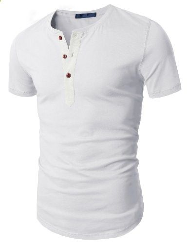 Doublju Mens Henley T-shirts with Short Sleeve WHITE US-L  Go to the website to read more description.