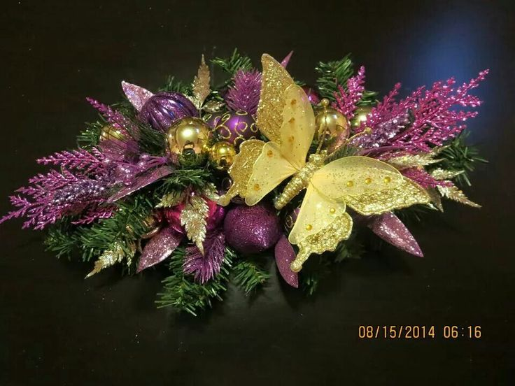 Small Centerpiece done in purples & Golds :) https://m.facebook.com/profile.php?id=660105577355574