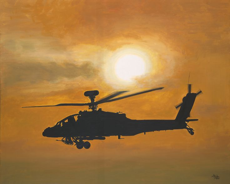 """An """"Appache"""" attack helicopter flying low over the middle eastern desert as the sun starts to set. Medium: acrylic on 24"""" x 30"""" canvas."""
