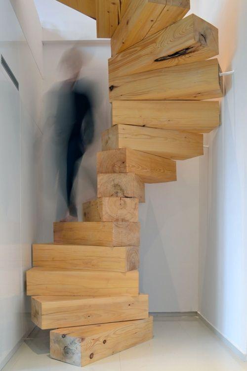 Spiral staircase made from chunky-wooden blocks by Studio QC.
