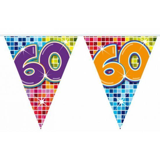 Mini vlaggenlijn 60 jaar. Kleine slinger in feestelijke kleuren met het getal 60. De slinger is ongeveer 3 meter lang.