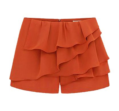 Orange Cascading Ruffle Zipper Chiffon Shorts