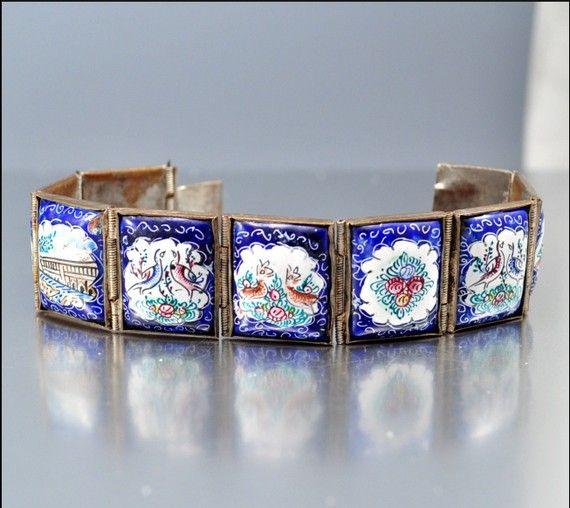 Vintage Persian Enamel Story Bracelet 1940s Ethnic by boylerpf