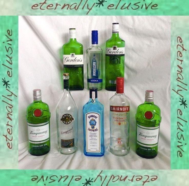 JobLot 8 EMPTY Glass Bottles Tanqueray Bombay Gordons Gin Smirnoff Vodka Upcycle