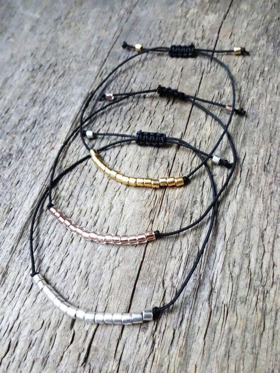 Bracelet cordon | perles miyuki | perles de verre | bijoux bohème | hippie | nylon | gold | or | argent | silver | cuivre | copper | black