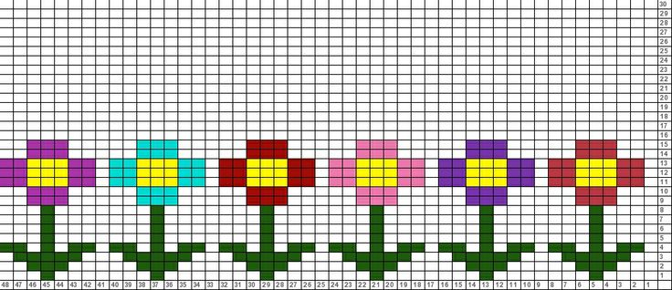 Little flowers (could also use this pattern for embroidery or hama beads, etc) | Tricksy Knitter Charts