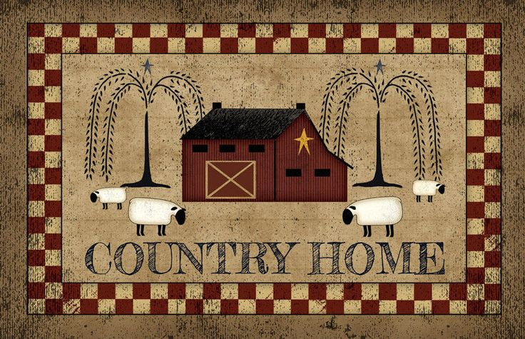 Country Primitive Folk Art COUNTRY HOME Sheep Willow Tree Barn  Floor Rug Mat #Country