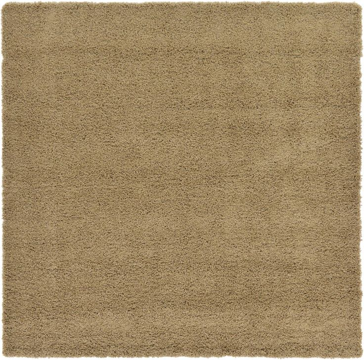 Sandy Brown 8' 2 x 8' 2 Solid Shag Square Rug | Area Rugs | iRugs UK