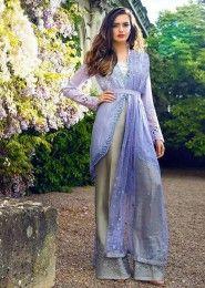 Party Wear Purple Georgette Heavy Embroidery Work Salwar Kameez