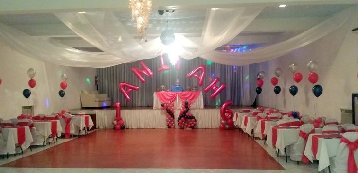 Sweet 16 balloon and table decor with ceiling draping - #balloon #ceiling #decor #draping #sweet