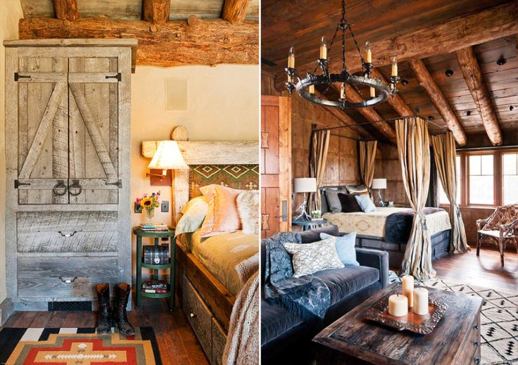 Дизайн спальни в стиле рустик