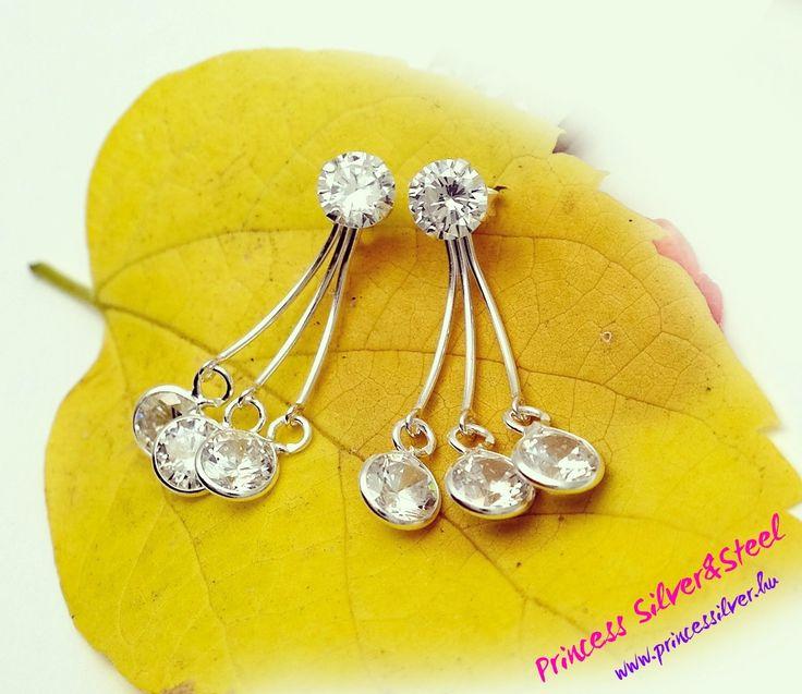 Cirkónia kristály függős ezüst fülbevaló